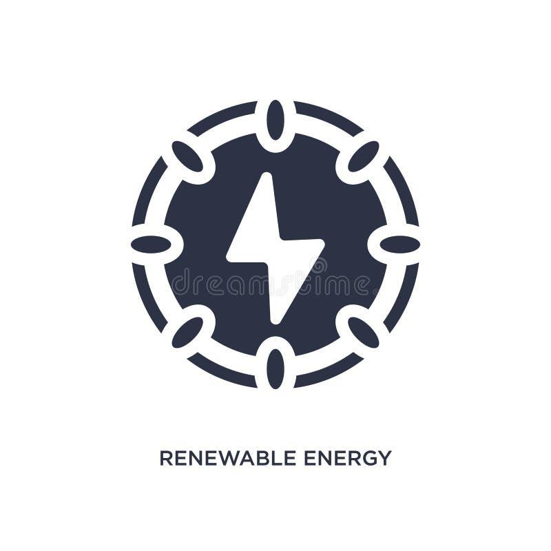 Ícone da energia renovável no fundo branco Ilustração simples do elemento do conceito da ecologia ilustração royalty free