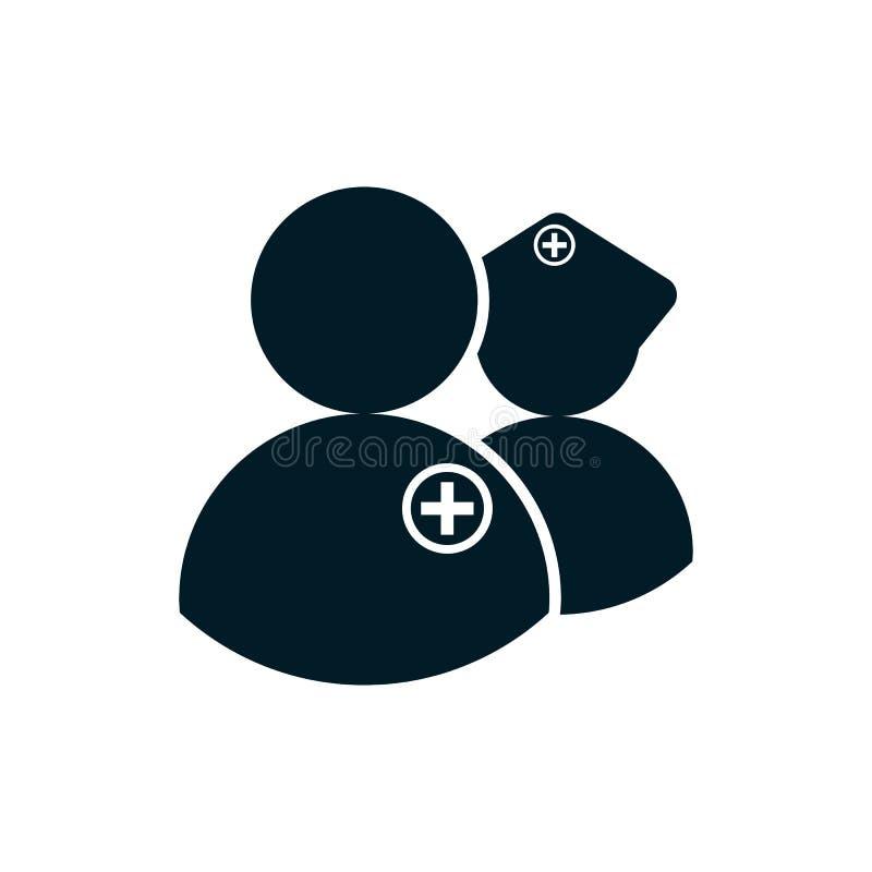 Ícone da enfermeira e do doutor ilustração do vetor