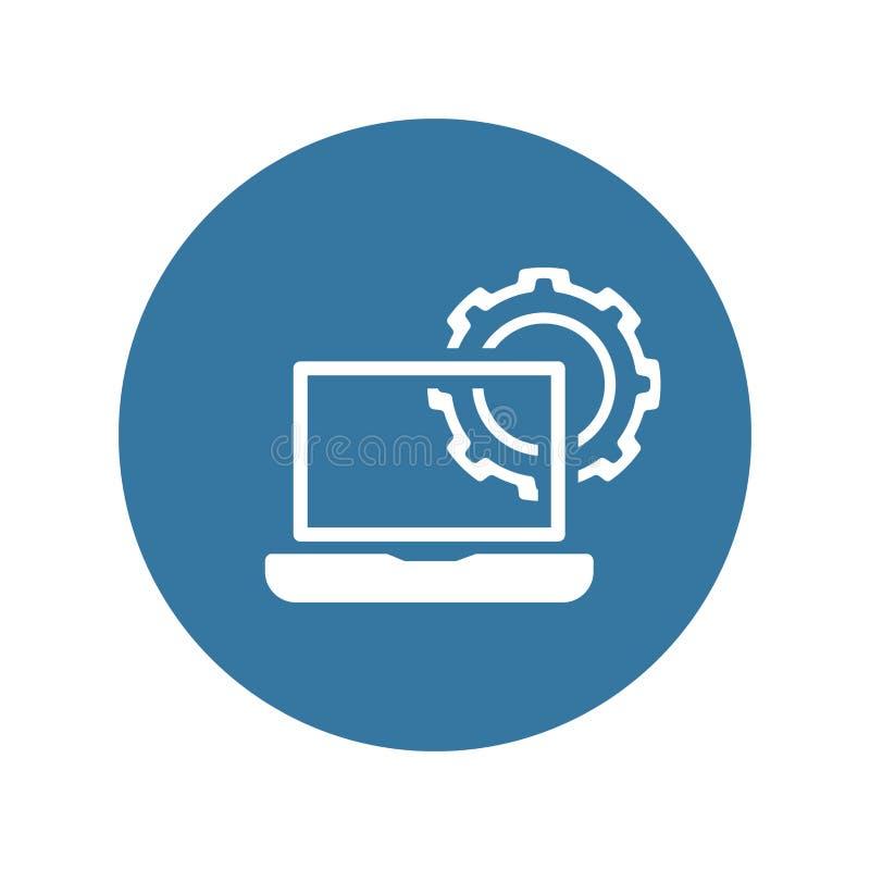 Ícone da engenharia informática Engrenagem e portátil Símbolo do desenvolvimento ilustração stock