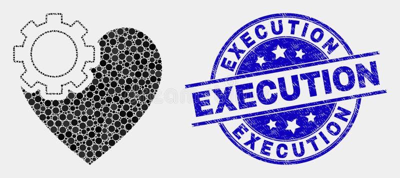 Ícone da engrenagem do coração do pixel do vetor e filigrana riscada da execução ilustração stock