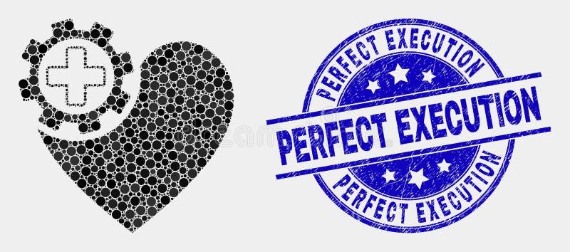 Ícone da engrenagem do coração do pixel do vetor e para afligir o selo perfeito da execução ilustração royalty free