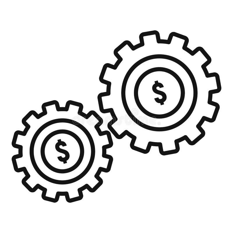 Ícone da engrenagem do dinheiro, estilo do esboço ilustração royalty free