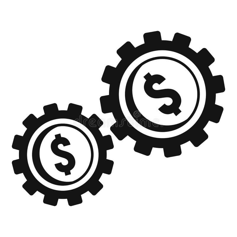 Ícone da engrenagem do dinheiro, estilo simples ilustração royalty free