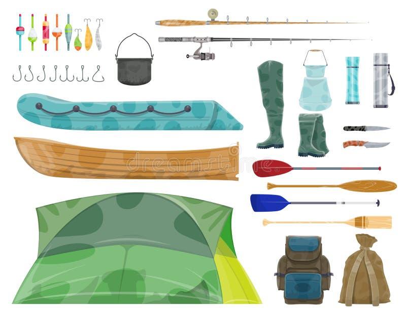 Ícone da engrenagem do equipamento e do pescador de esporte da pesca ilustração do vetor