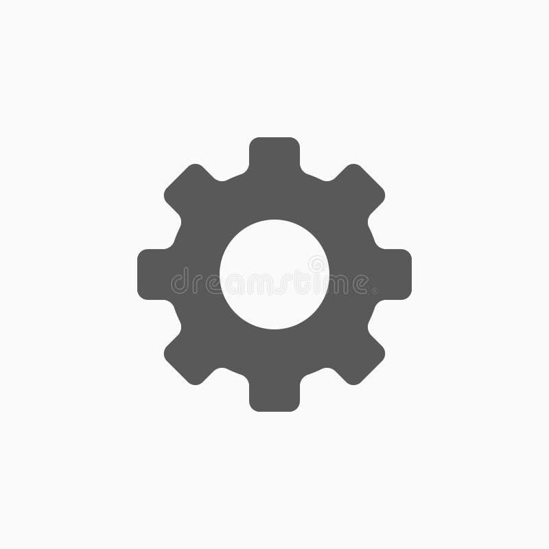 Ícone da engrenagem, ferramenta, equipamento, maquinaria, instrumento, hardware ilustração stock