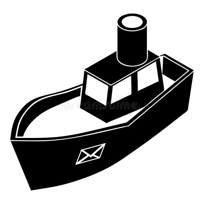 Ícone da entrega do navio do mar, estilo simples ilustração do vetor