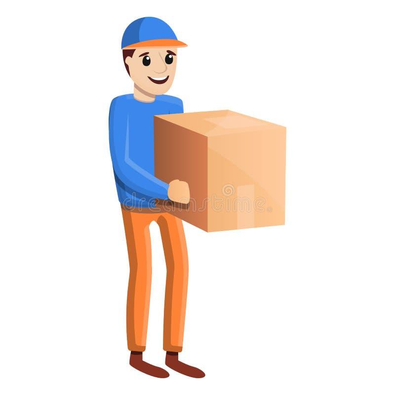 Ícone da entrega a domicílio do pacote, estilo dos desenhos animados ilustração royalty free