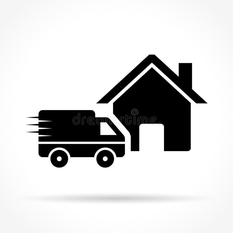Ícone da entrega a domicílio no fundo branco ilustração do vetor