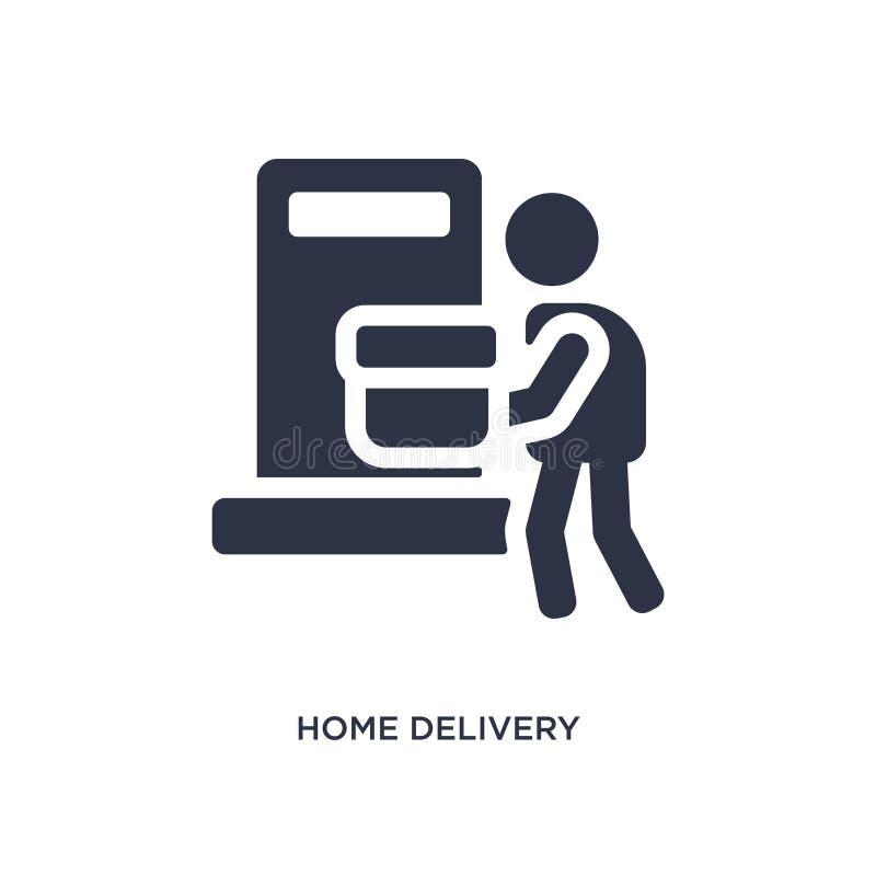 Ícone da entrega a domicílio no fundo branco Ilustração simples do elemento do conceito da embalagem e da entrega ilustração stock
