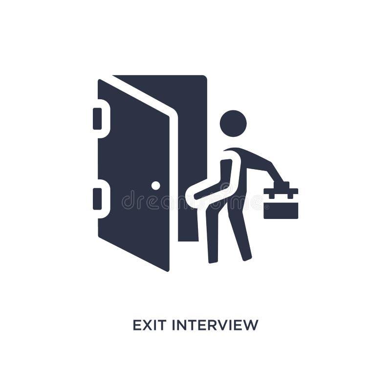 ícone da entrevista de saída no fundo branco Ilustração simples do elemento do conceito dos recursos humanos ilustração royalty free