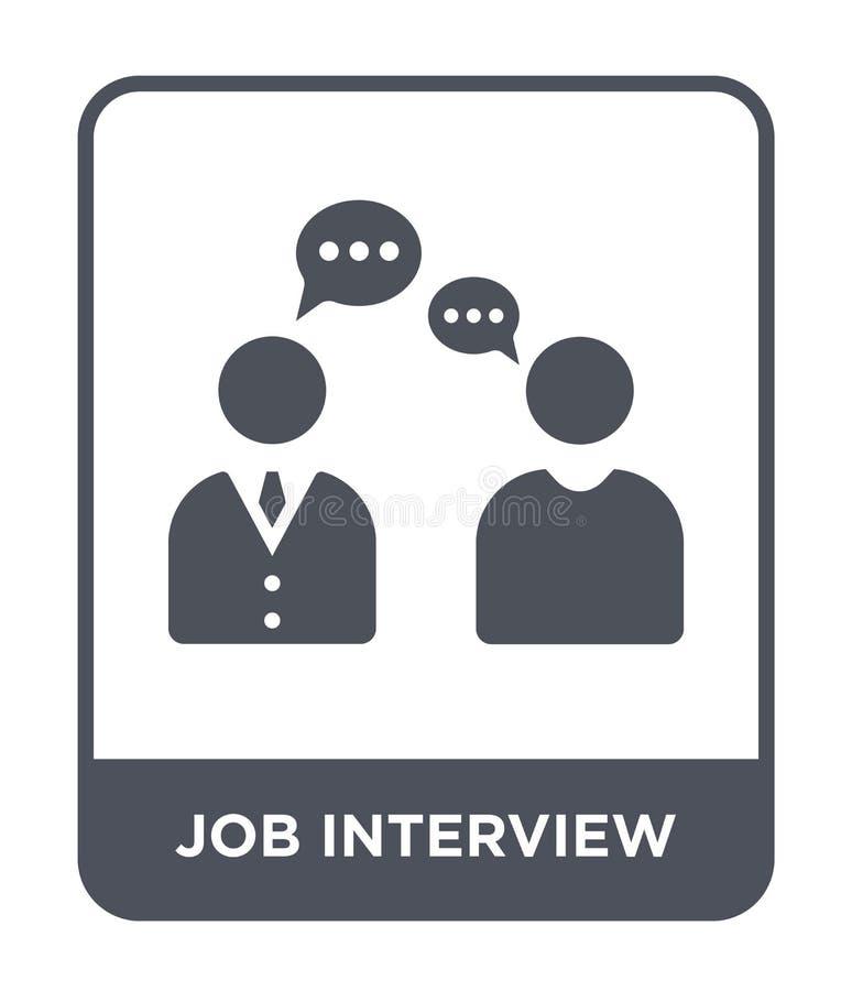 ícone da entrevista de trabalho no estilo na moda do projeto ícone da entrevista de trabalho isolado no fundo branco ícone do vet ilustração do vetor