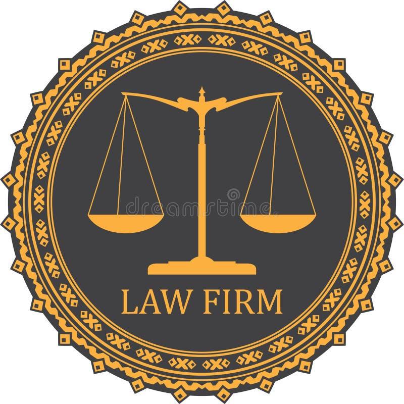 Ícone da escala de justiça com EMPRESA DE ADVOCACIA do subtítulo ilustração do vetor
