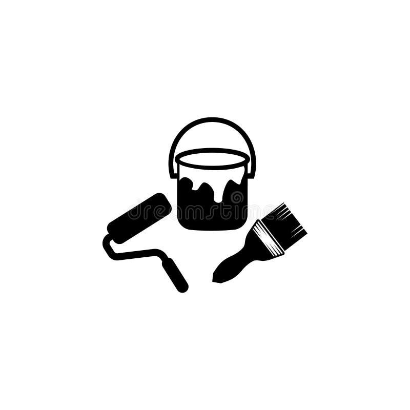 Ícone da escova de pintura Elementos do ícone do constraction Projeto gráfico da qualidade superior Sinais e ícone para Web site, ilustração stock
