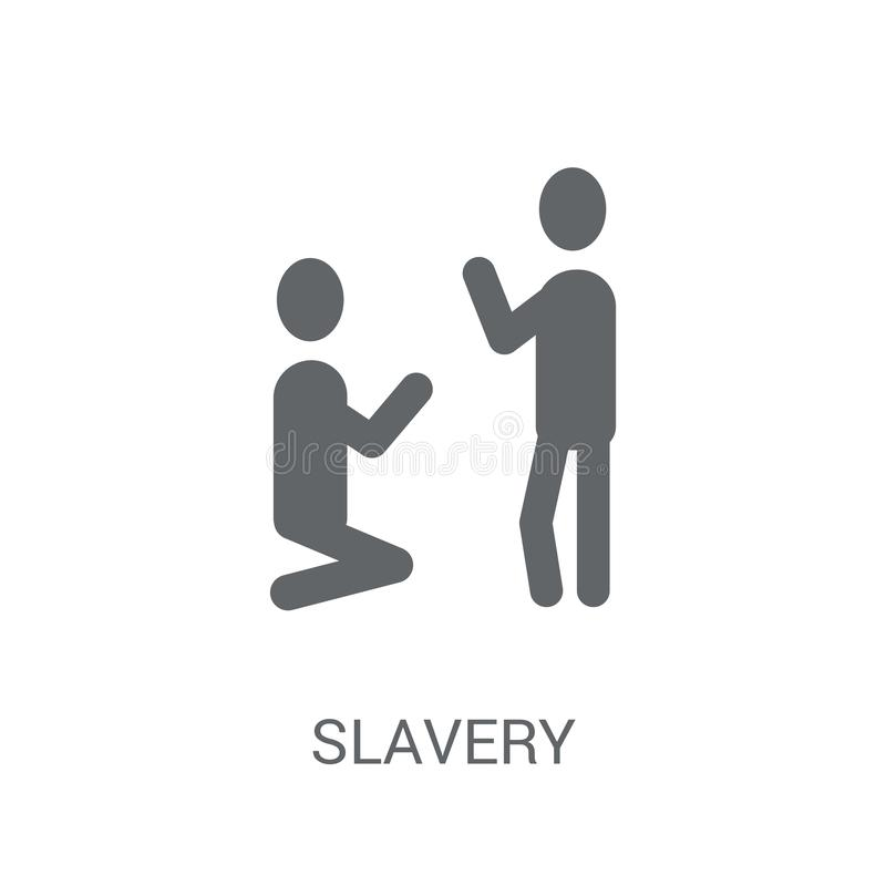 Ícone da escravidão Conceito na moda do logotipo da escravidão no fundo branco franco ilustração do vetor