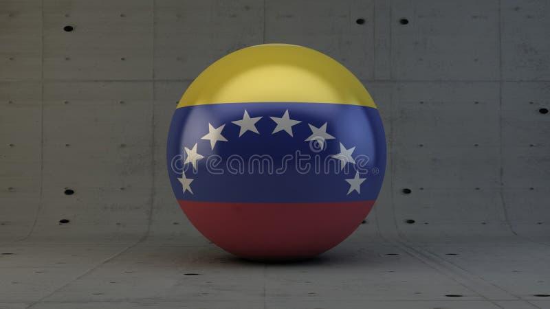 Ícone da esfera da bandeira da Venezuela na sala concreta ilustração do vetor