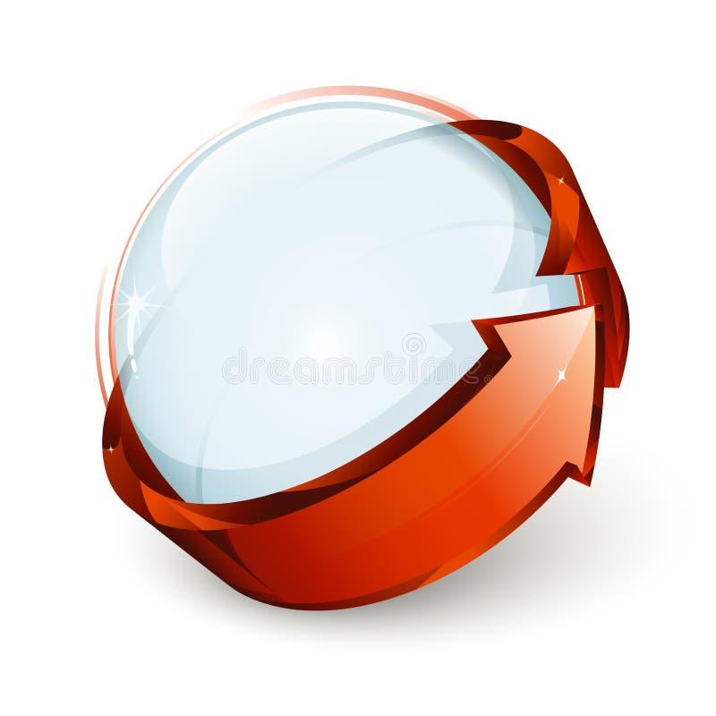 Ícone da esfera e da seta ilustração do vetor