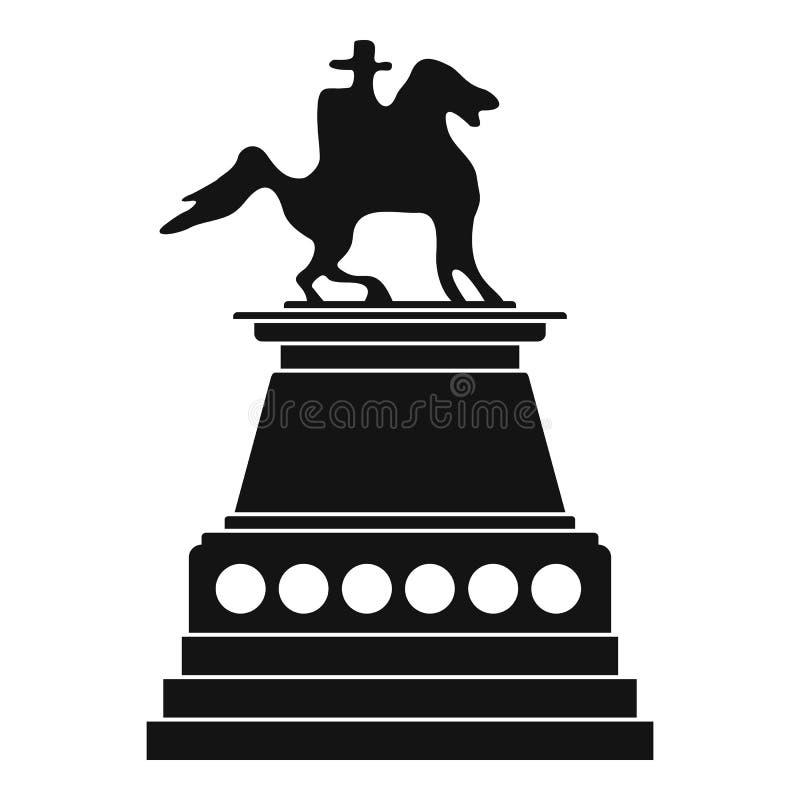 Ícone da estátua do cavalo, estilo simples ilustração do vetor