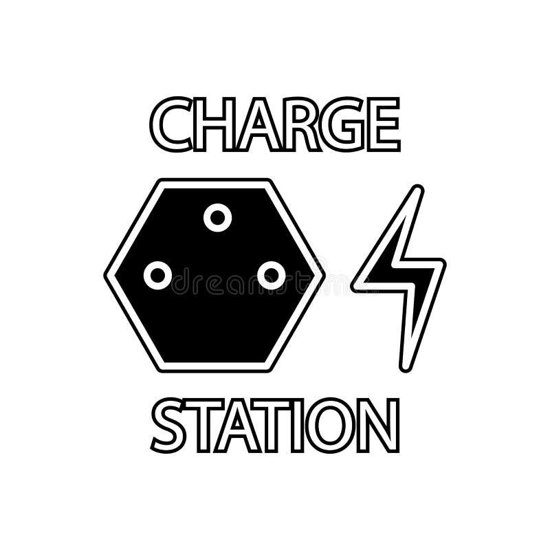 ícone da estação da carga Elemento dos carros serviço e das peças de reparo para o conceito e o ícone móveis dos apps da Web Glyp ilustração stock
