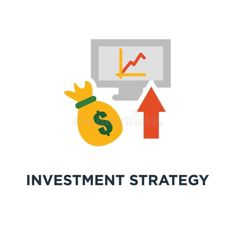 ícone da estratégia de investimento análise financeira, taxa de juro, crescimento do capital, revisão dos dados no projeto deskto ilustração do vetor