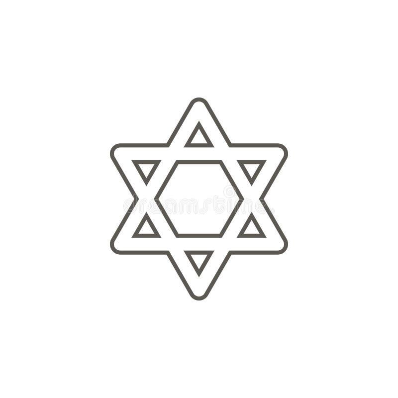 Ícone da estrela de David de Israel Ilustra??o simples do elemento do mapa e do conceito da navega??o Ícone da estrela de David d ilustração do vetor