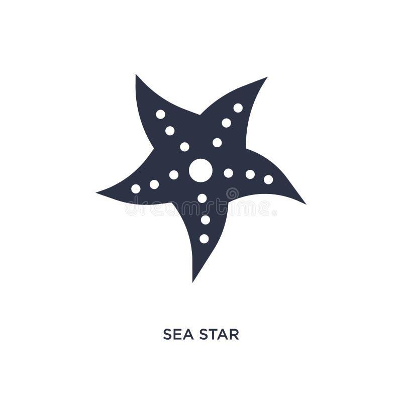ícone da estrela de mar no fundo branco Ilustração simples do elemento do conceito do verão ilustração stock