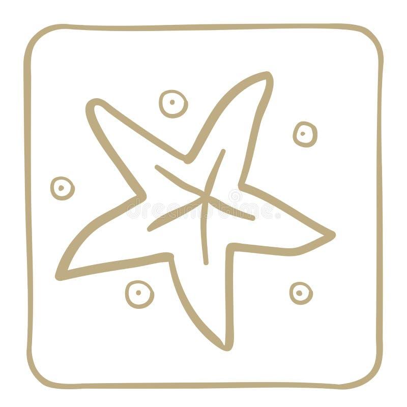 Ícone da estrela do mar em claro - quadro marrom Gráficos de vetor ilustração royalty free