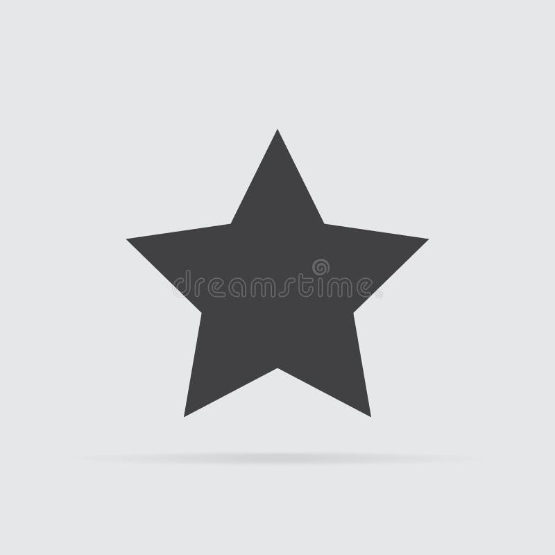 Ícone da estrela no estilo liso isolado no fundo cinzento ilustração stock