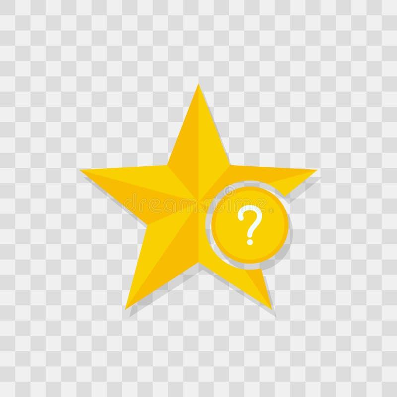 Ícone da estrela, ícone da pergunta ilustração do vetor