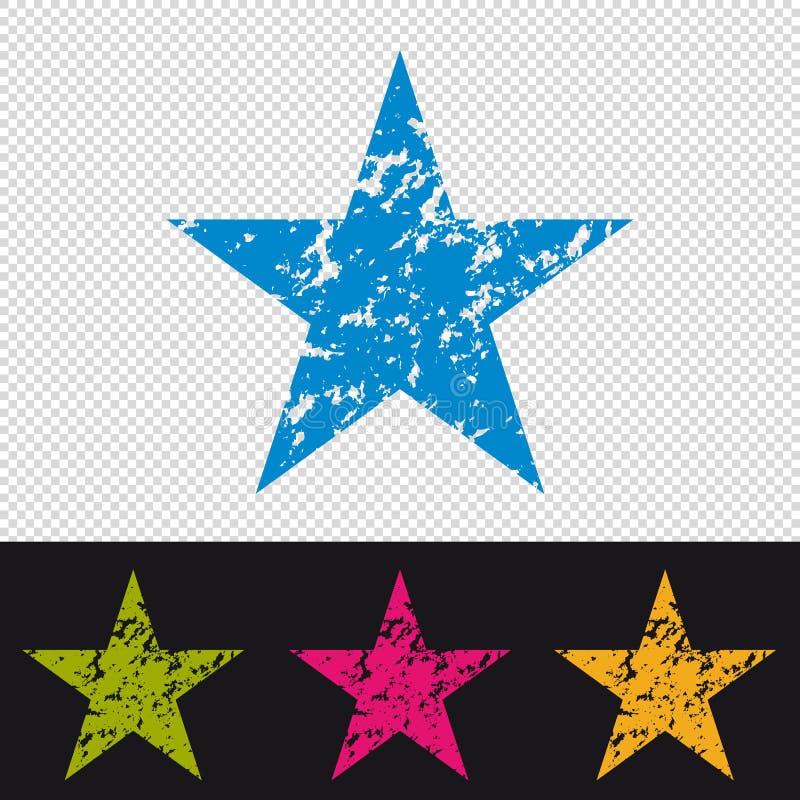 Ícone da estrela - selo do carimbo de borracha - ilustração colorida do vetor - isolada no fundo transparente e preto ilustração royalty free