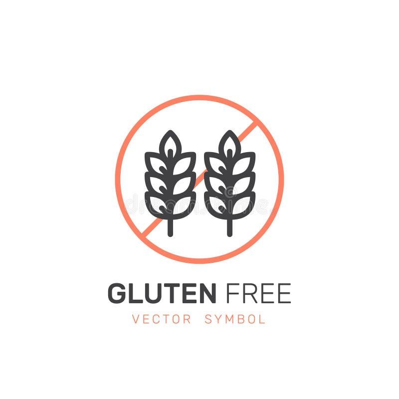 Ícone da etiqueta de advertência Produto do trigo do glúten dos alérgenos Vegetariano e símbolos orgânicos Intolerância do alimen ilustração do vetor