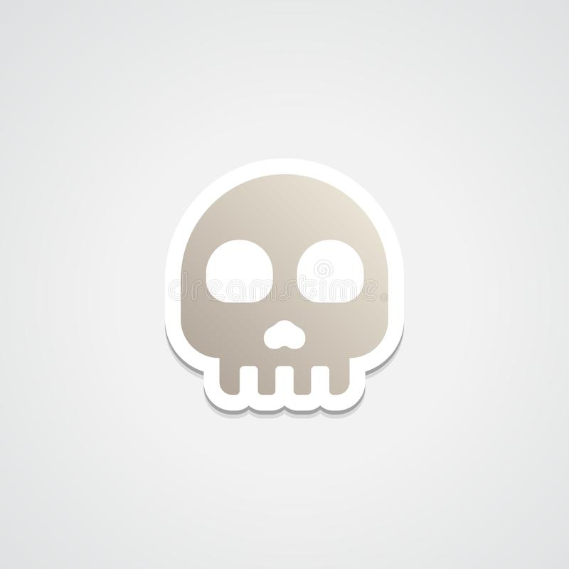 Ícone da etiqueta de Emoji do crânio fotografia de stock