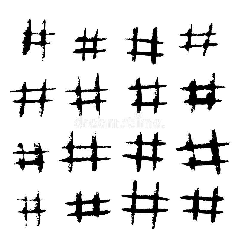 Ícone da etiqueta de hash em branco isolado em fundo branco Hashtag desenhada à mão ilustração stock