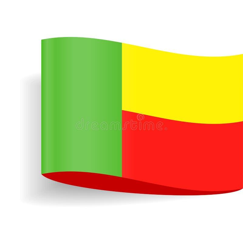 Ícone da etiqueta da etiqueta do vetor da bandeira de Benin ilustração stock
