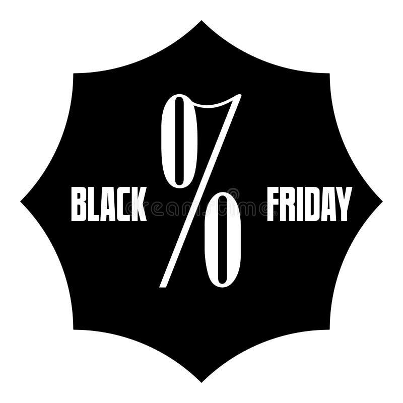 Ícone da etiqueta da venda de Black Friday, estilo simples ilustração do vetor