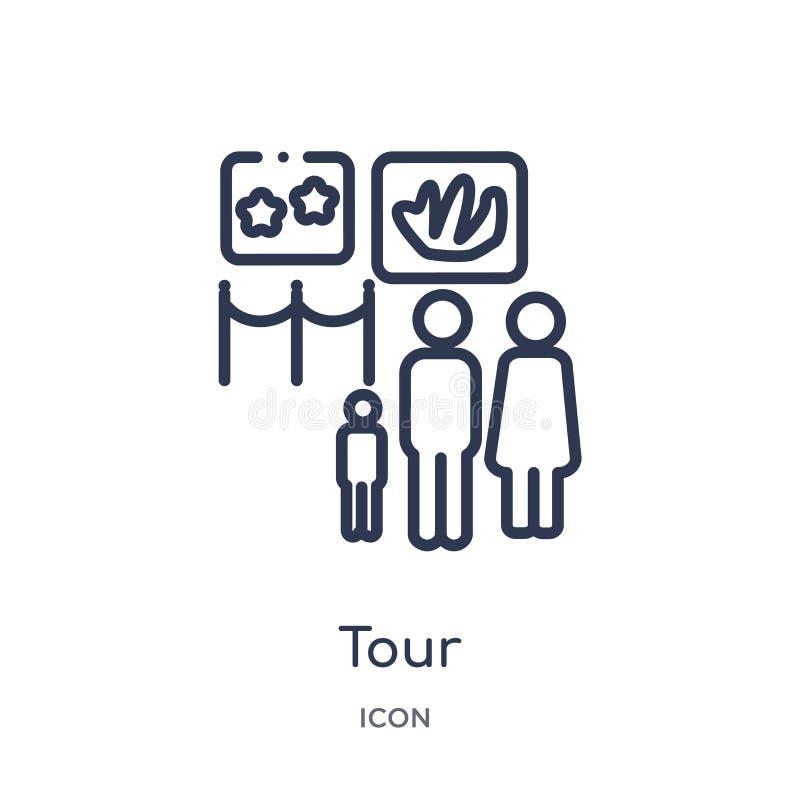 Ícone da excursão da coleção do esboço do museu Linha fina ícone da excursão isolado no fundo branco ilustração do vetor