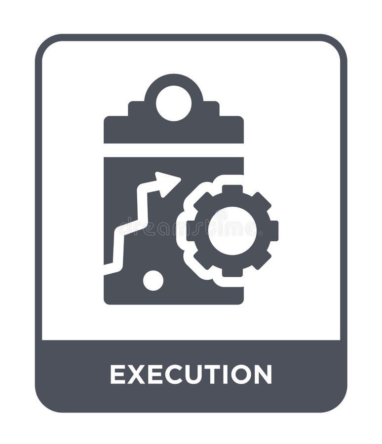 ícone da execução no estilo na moda do projeto ícone da execução isolado no fundo branco plano simples e moderno do ícone do veto ilustração do vetor