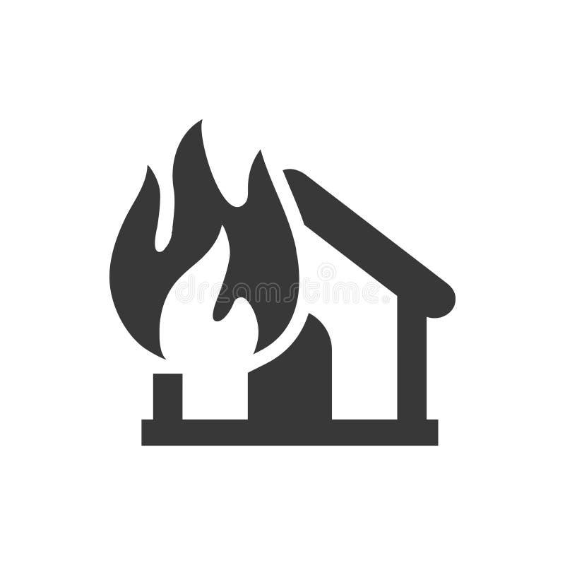 Ícone da explosão do fogo de casa ilustração royalty free