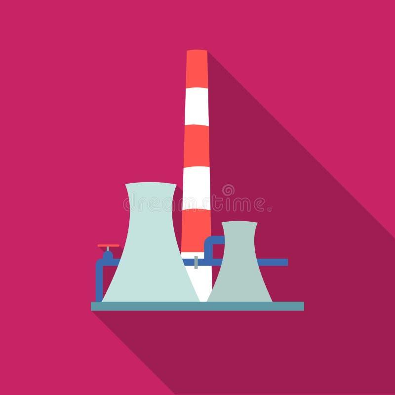 Ícone da fábrica da refinaria de petróleo no estilo liso isolado no fundo branco Ilustração do vetor do estoque do símbolo da ind ilustração stock