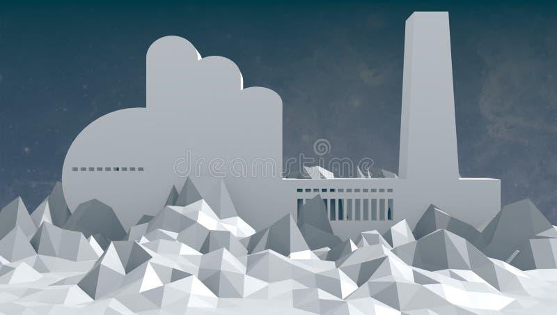 Ícone da fábrica na baixa paisagem poli foto de stock
