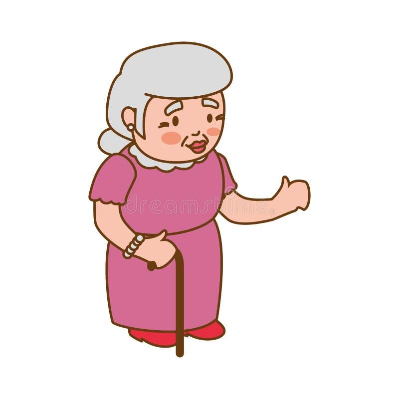 Ícone da fêmea da mulher da pessoa idosa da avó Gráfico de vetor ilustração do vetor