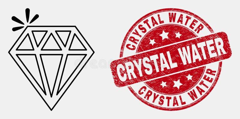 Ícone da faísca do curso do vetor e aflição brilhantes Crystal Water Watermark ilustração royalty free