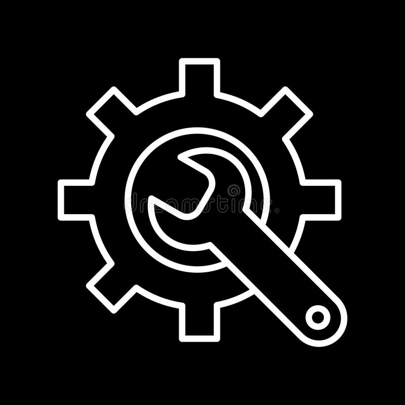 Ícone da fabricação Engrenagem e chave Preste serviços de manutenção ao símbolo Linha lisa pictograma Isolado no fundo preto ilustração royalty free