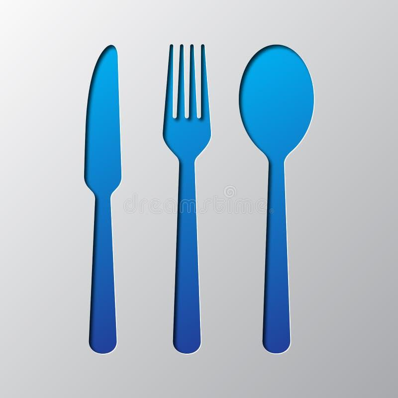 Ícone da faca, da colher e da forquilha isolado no fundo azul Ilustração no estilo liso ilustração do vetor
