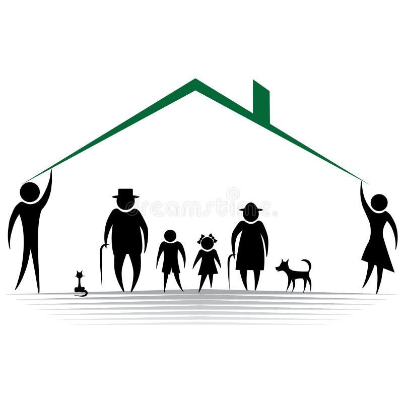 Ícone da família da silhueta dos povos da proteção. ilustração do vetor