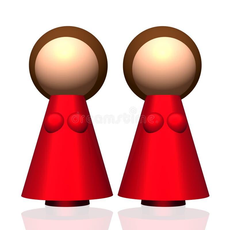 ícone da família do Dois-mum 3D ilustração do vetor