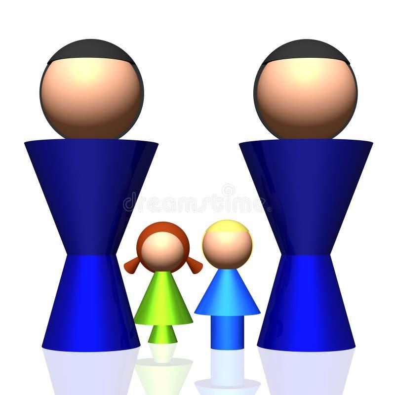 ícone da família do Dois-paizinho 3D ilustração stock