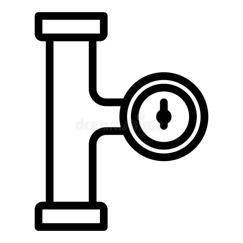 Ícone da fase da tubulação do manômetro, estilo do esboço ilustração do vetor