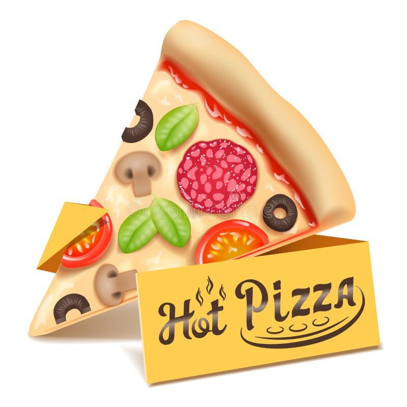 Ícone da fatia do triângulo da pizza isolado na ilustração branca do vetor do fundo ilustração do vetor
