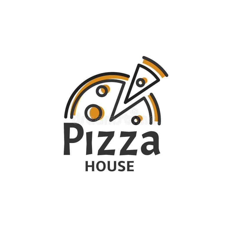 Ícone da fatia da pizza Molde moderno do logotipo da pizaria Emblema italiano do restaurante do alimento Projeto do logotype do c ilustração do vetor