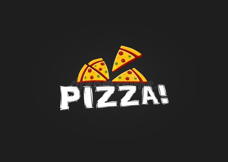 Ícone da fatia da pizza Molde moderno do logotipo da pizaria Emblema italiano do restaurante do alimento Projeto do logotype do c ilustração stock